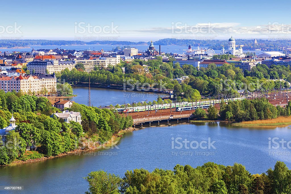 Aerial panorama of Helsinki, Finland stock photo