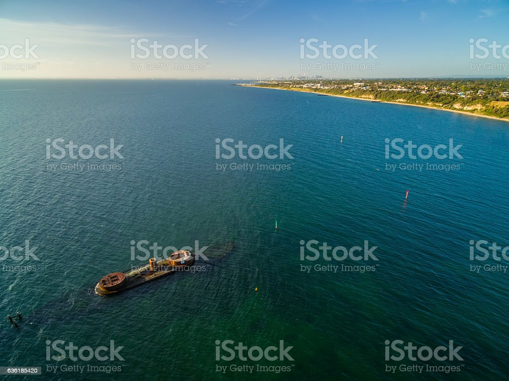 Aerial panorama of historic shipwreck of HMVS Cerberus at sunset stock photo