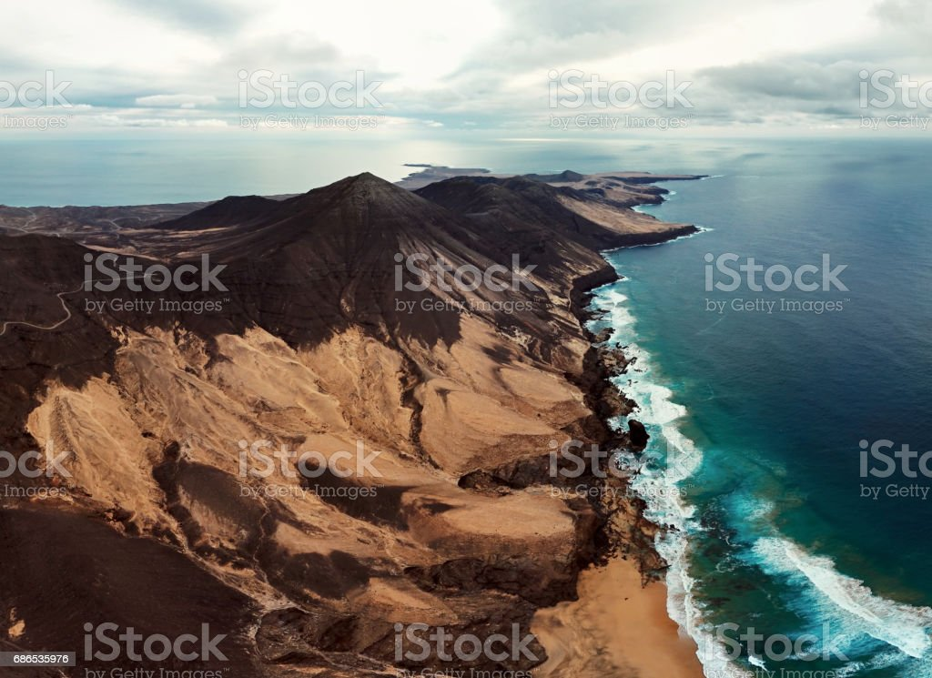 Aerial panorama of Jandia Peninsula on Fuerteventura, Canary Islands. stock photo