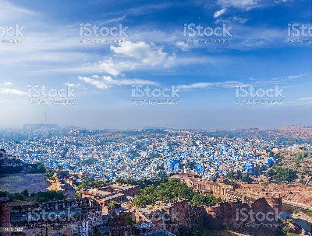 Aerial panorama of Jodhpur - the blue city, India stock photo