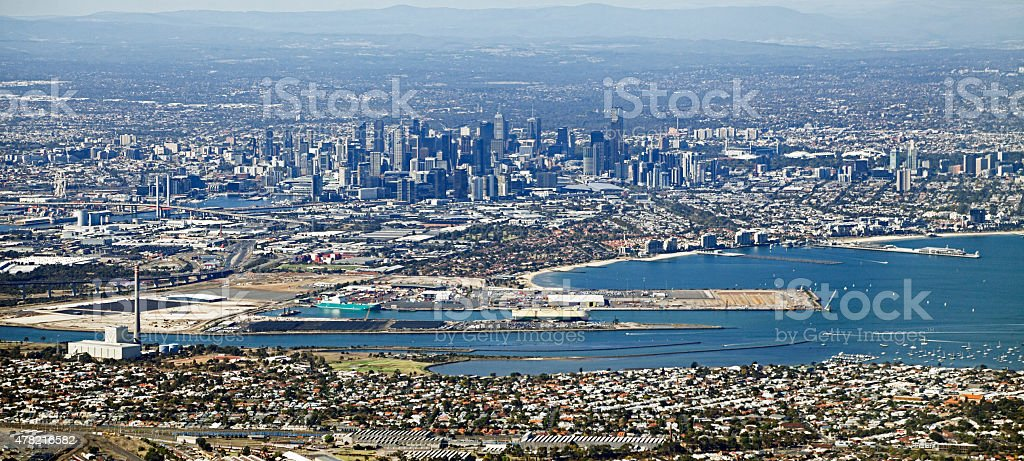 Aerial panorama of Melbourne city, port and surrounding suburbs stock photo