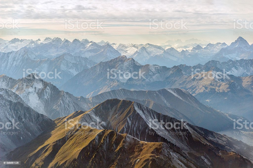 Aerial panorama of mountain peaks stock photo