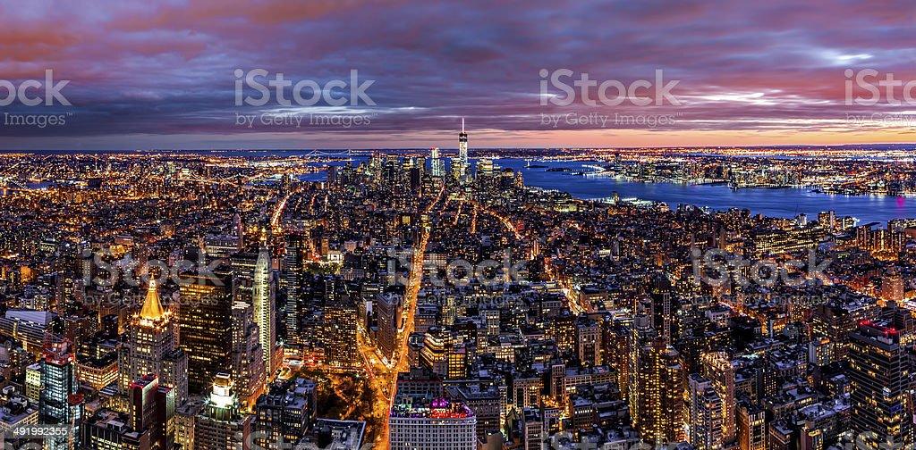 Aerial panorama of New York stock photo