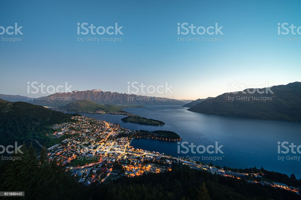 Aerial Panorama of Queenstown South Island New Zealand at Twilight stock photo