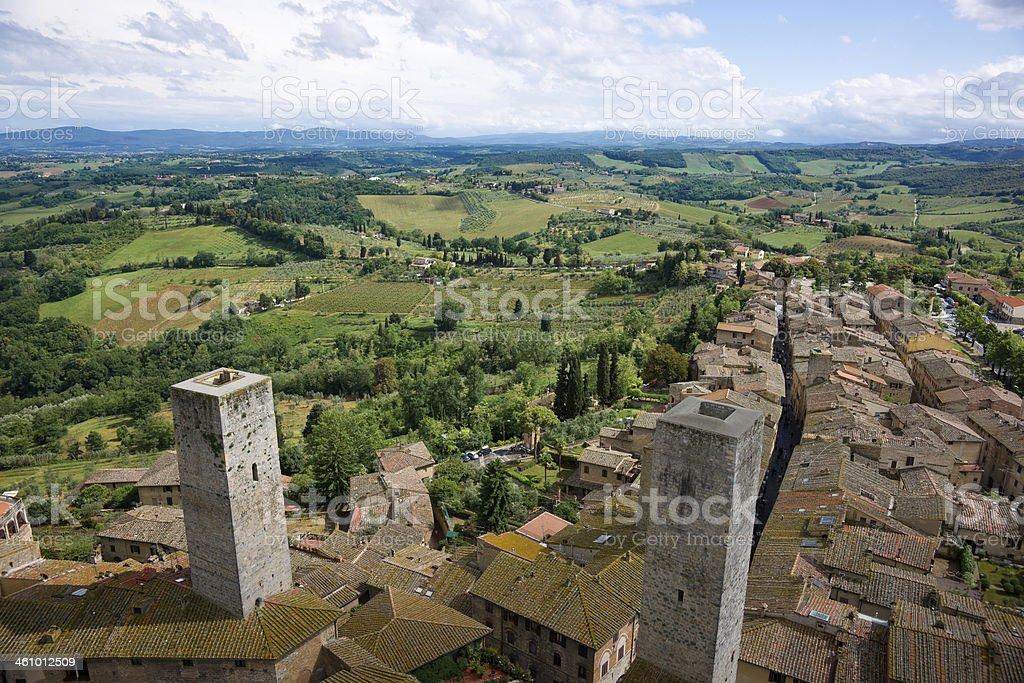 Aerial Panorama of San Gimignano Hill Town, Tuscany, Italy stock photo