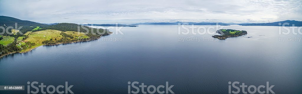 Aerial panorama of Satellite Island, Tasmania. stock photo