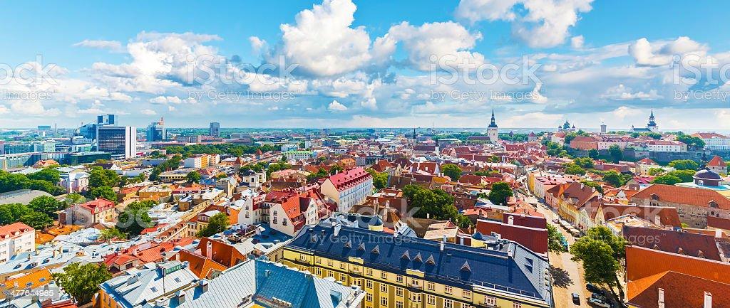 Aerial panorama of Tallinn, Estonia stock photo