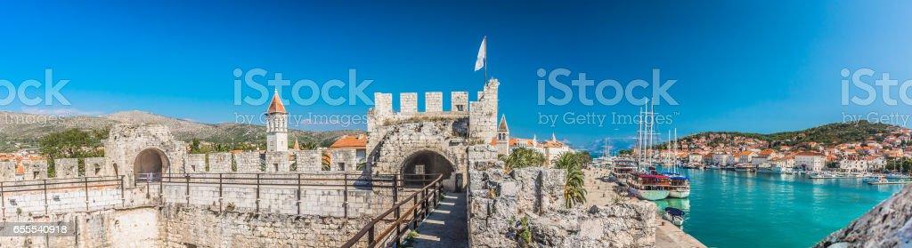 Aerial panorama of town Trogir, Croatia. stock photo