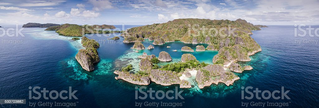 Aerial Panorama of Tropica Lagoon in Raja Ampat, Indonesia stock photo