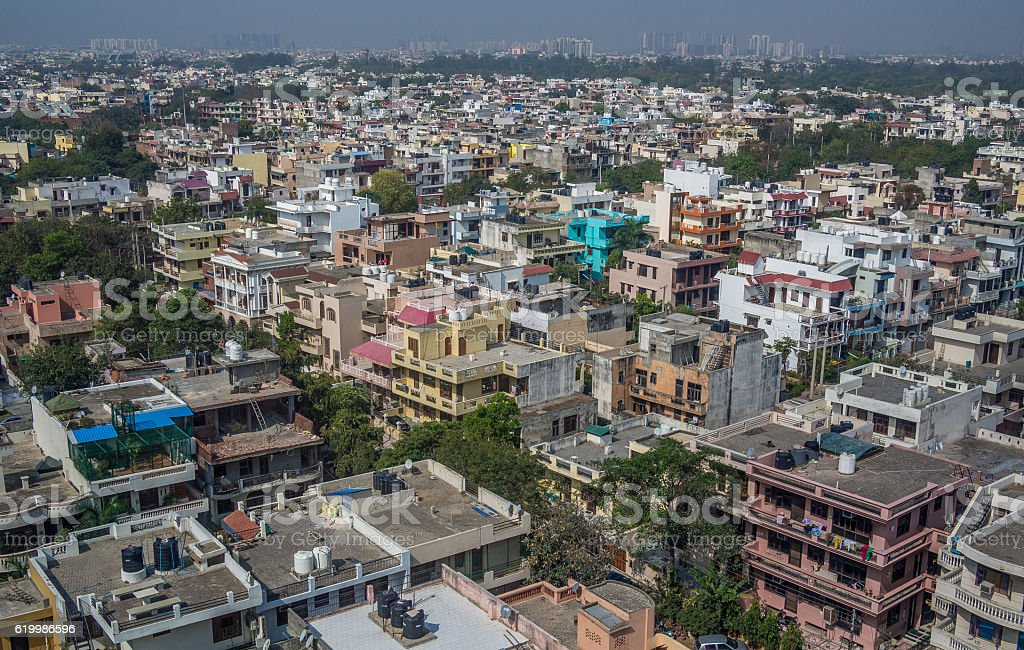 Aerial panorama of typical asian city stock photo