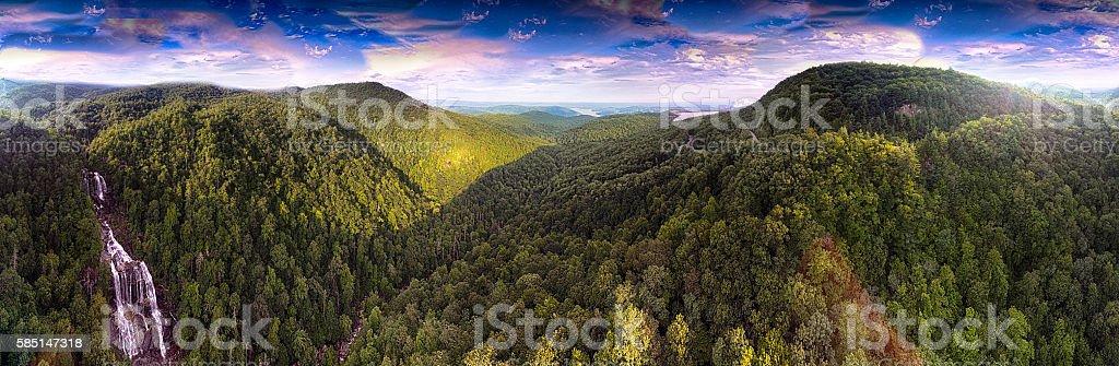 Aerial Panorama of White Water Falls In North Carolina stock photo
