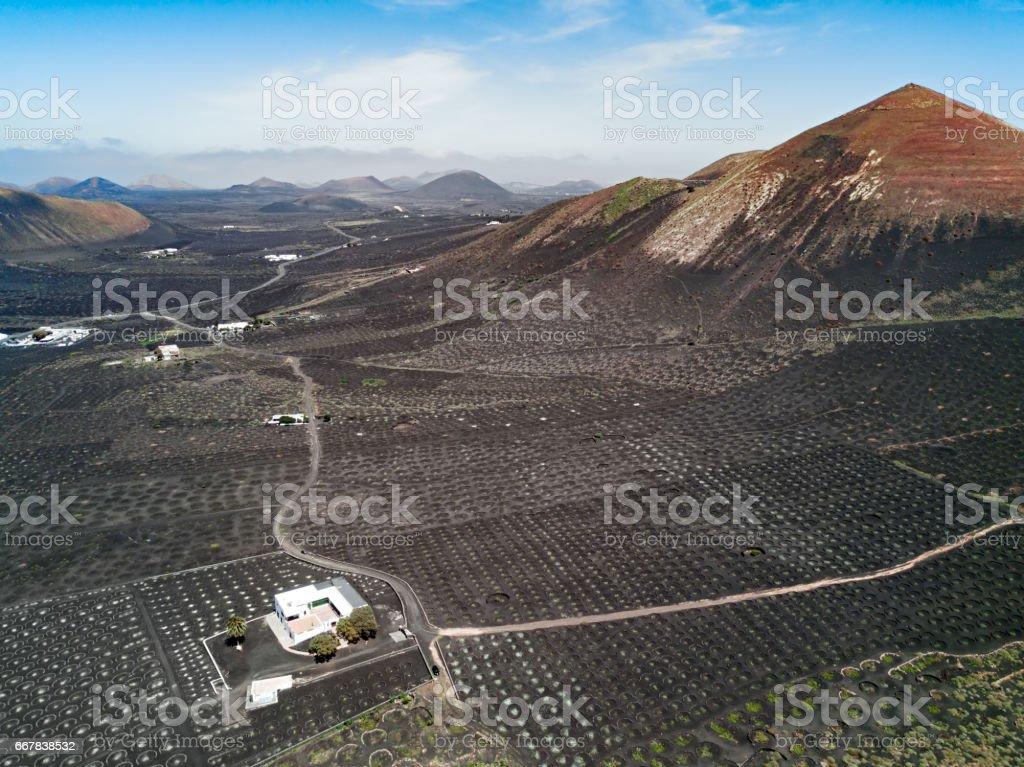 Aerial panorama of Wine valley of La Geria, Lanzarote, Canary islands, Spain stock photo