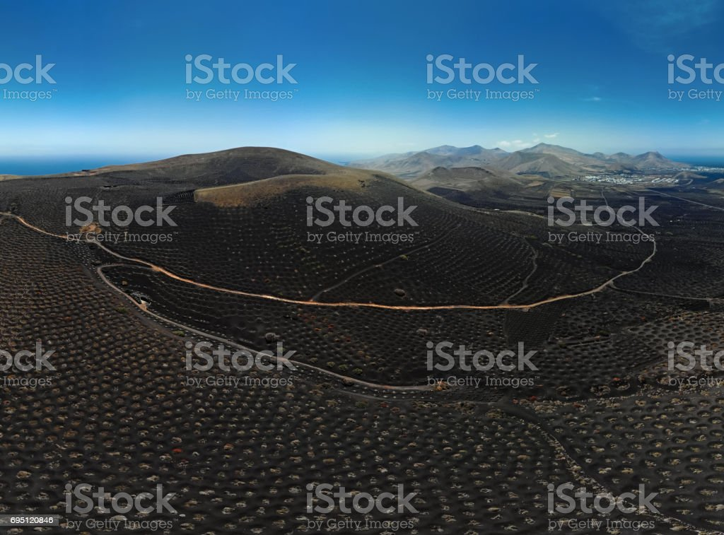 Aerial panorama of Wine valley of La Geria, Lanzarote, Canary islands stock photo