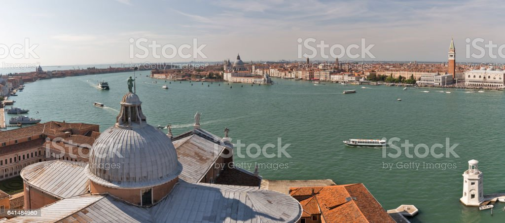 Aerial panorama over Church of San Giorgio Maggiore. Venice, Italy. stock photo