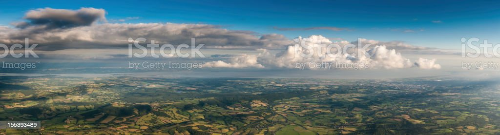 Aerial panorama over country farms fields and towns royalty-free stock photo