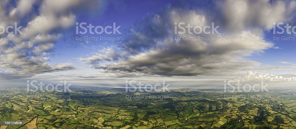 Aerial panorama patchwork fields stock photo