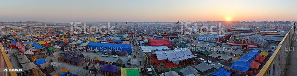 Aerial panorama view of Maha Kumbh Mela festival camp stock photo