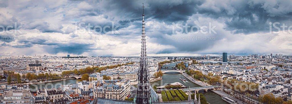 Aerial panorama view of Paris, France stock photo