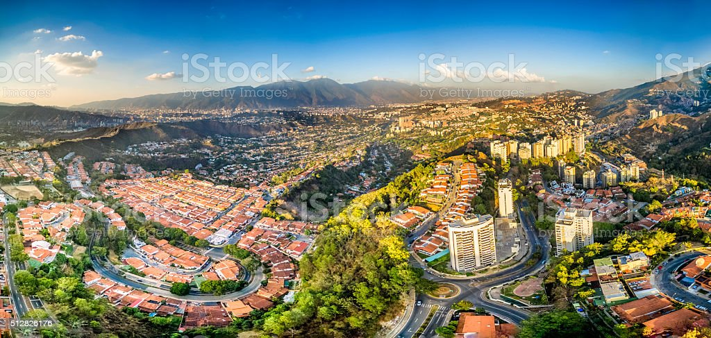 Aerial Panoramic image of Caracas city view with El Avila stock photo