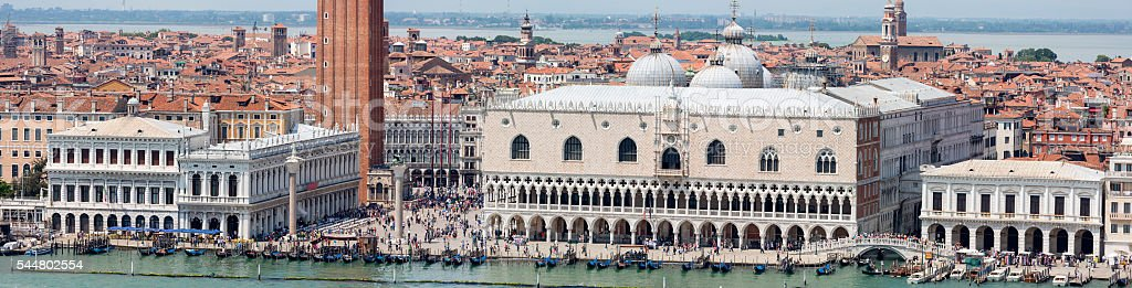 Aerial panoramic of St Mark's Square in Venice stock photo