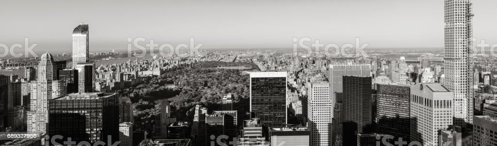 Aerial panoramic view of Central Park with Midtown skyscrapers (Black & White), New York City stock photo