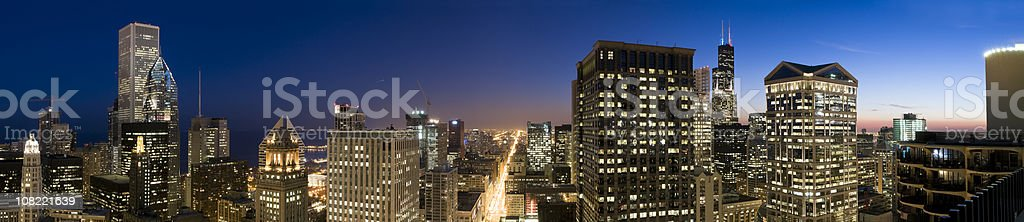 Aerial Panoramic View of Downtown Chicago at Dusk (XXL) stock photo