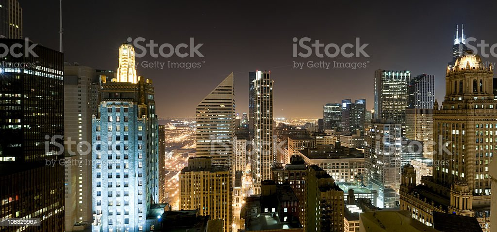 Aerial Panoramic View of Downtown Chicago at Night (XXXL) royalty-free stock photo
