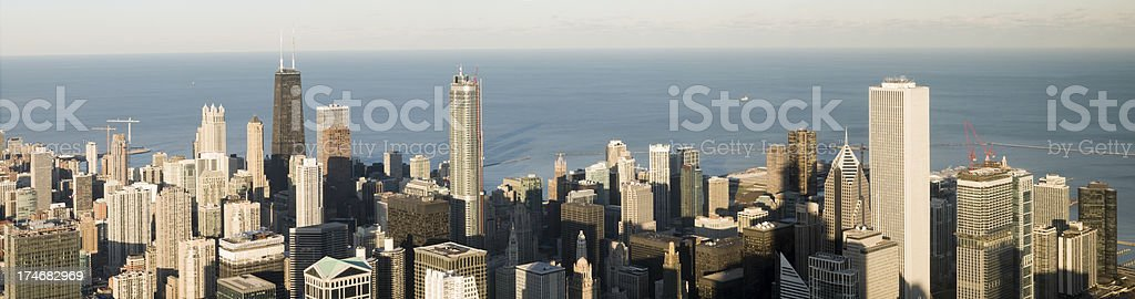 Aerial Panoramic View of Downtown Chicago (XXXL) stock photo