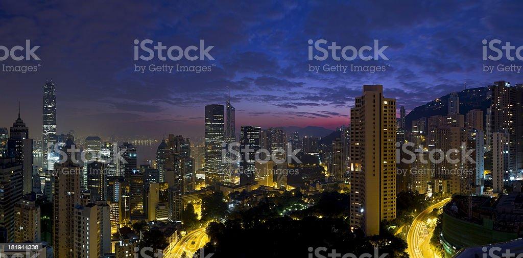 Aerial Panoramic View of Hong Kong at Dawn stock photo