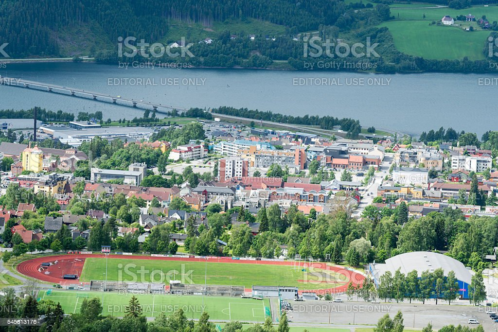Aerial panoramic view of Lillehammer, Norway stock photo
