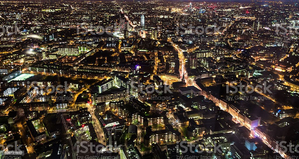 Aerial Panoramic view of London illuminated at night stock photo