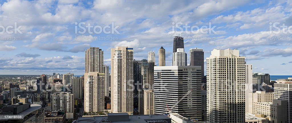 Aerial Panoramic View of Northern Chicago royalty-free stock photo