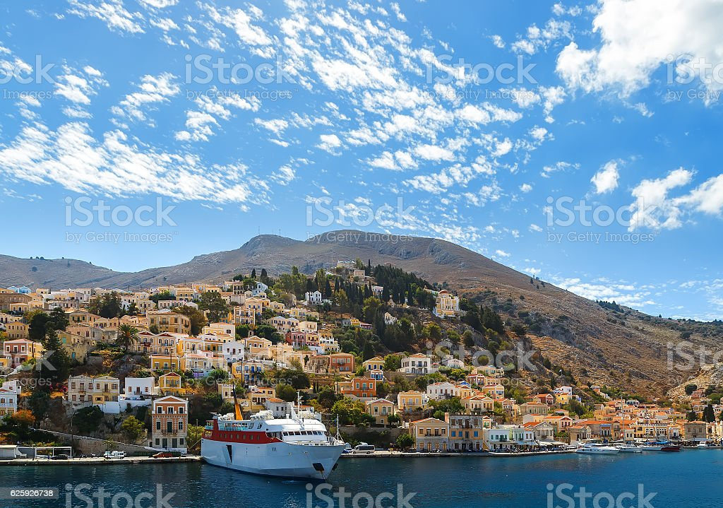 Aerial panoramic view of pictorial old port  Symi island stock photo