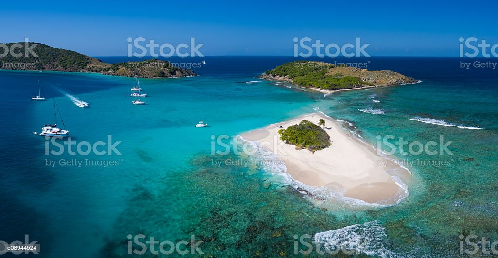 Aerial panoramic view of Sandy Spit, British Virgin Islands stock photo