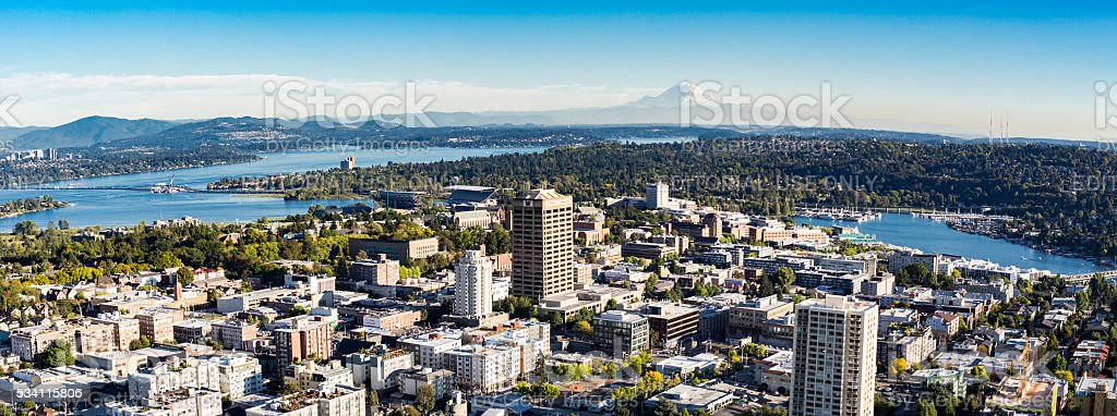 Aerial panoramic view of Seattle, University of Washington stock photo