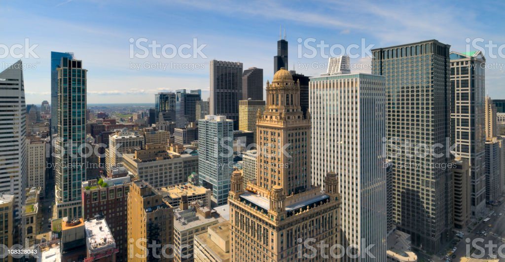 Aerial Panoramic View of the Chicago Loop (XXXL) stock photo