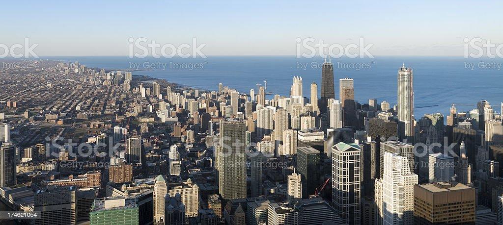Aerial Panoramic View of the Chicago Skyline (XXL) stock photo