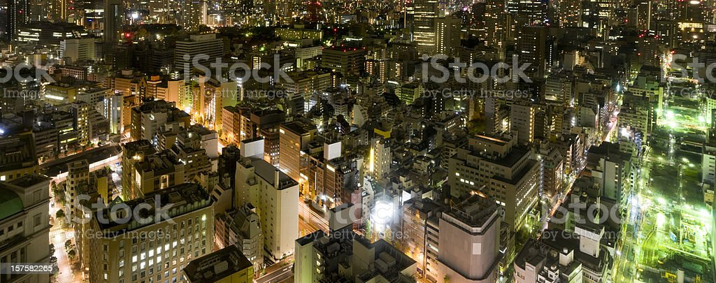 Aerial Panoramic View of Tokyo at Night (XXXL) royalty-free stock photo