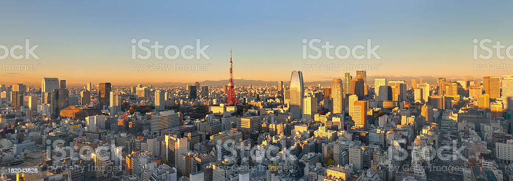 Aerial Panoramic View of Tokyo at Sunrise (XXXL) stock photo