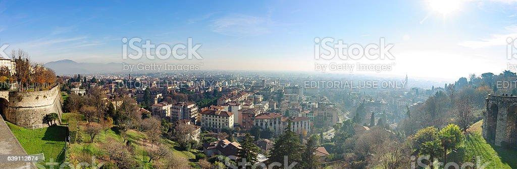 Aerial panoramic view on Bergamo town stock photo
