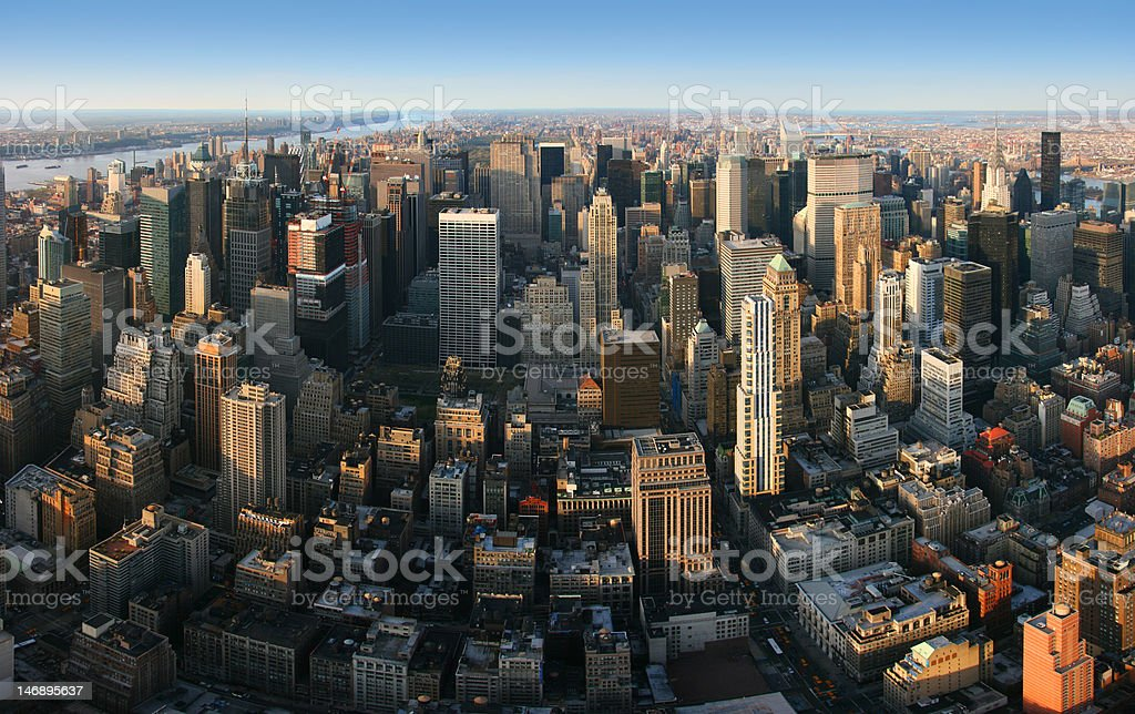 Aerial panoramic view over Manhattan, New York royalty-free stock photo