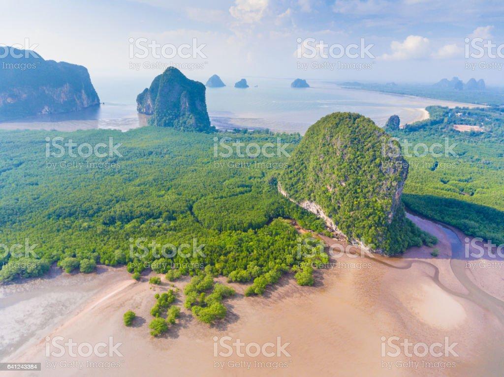 Aerial panoramic view  pakmeng beach of thailand near krabi stock photo