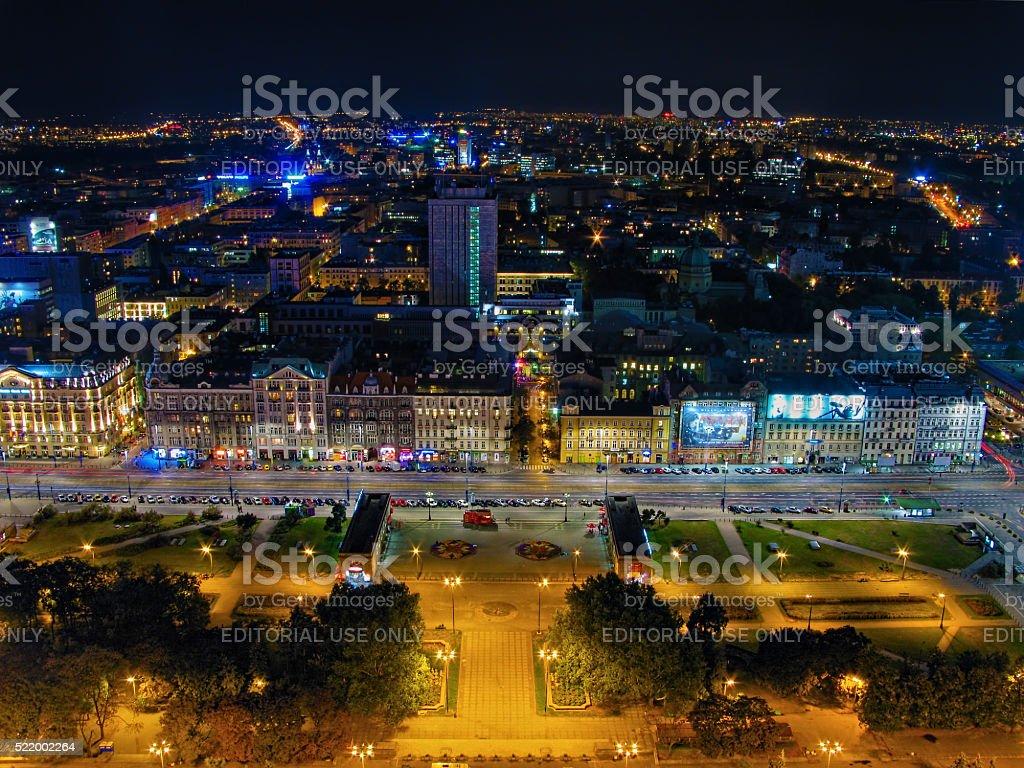 Warsaw, Poland - September 17, 2012: Aerial panoramic view Warsaw stock photo