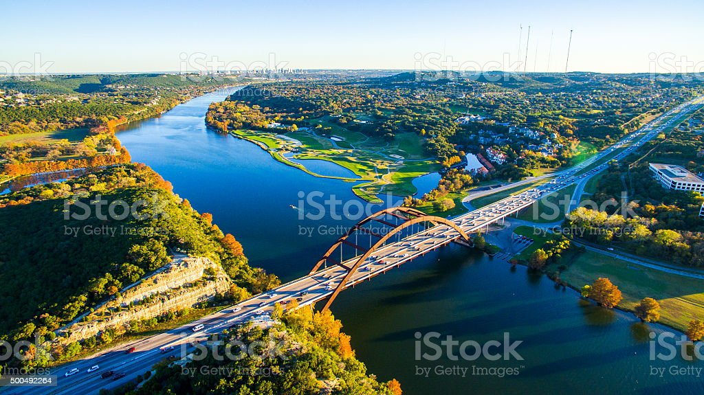 Aerial Pennybacker Bridge 360 Bridge From the Air stock photo
