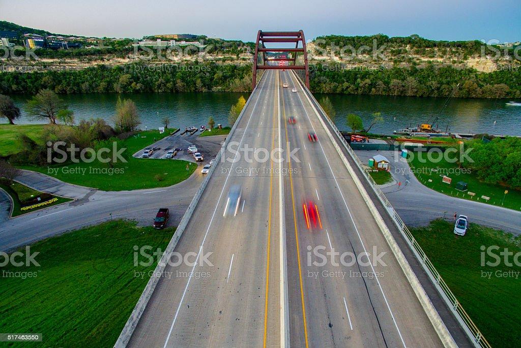 Aerial Pennybacker Bridge Texas Hill Country Spring Time stock photo