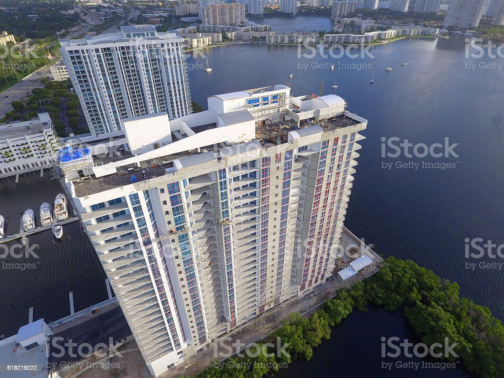 Aerial photo buildings on the bay stock photo