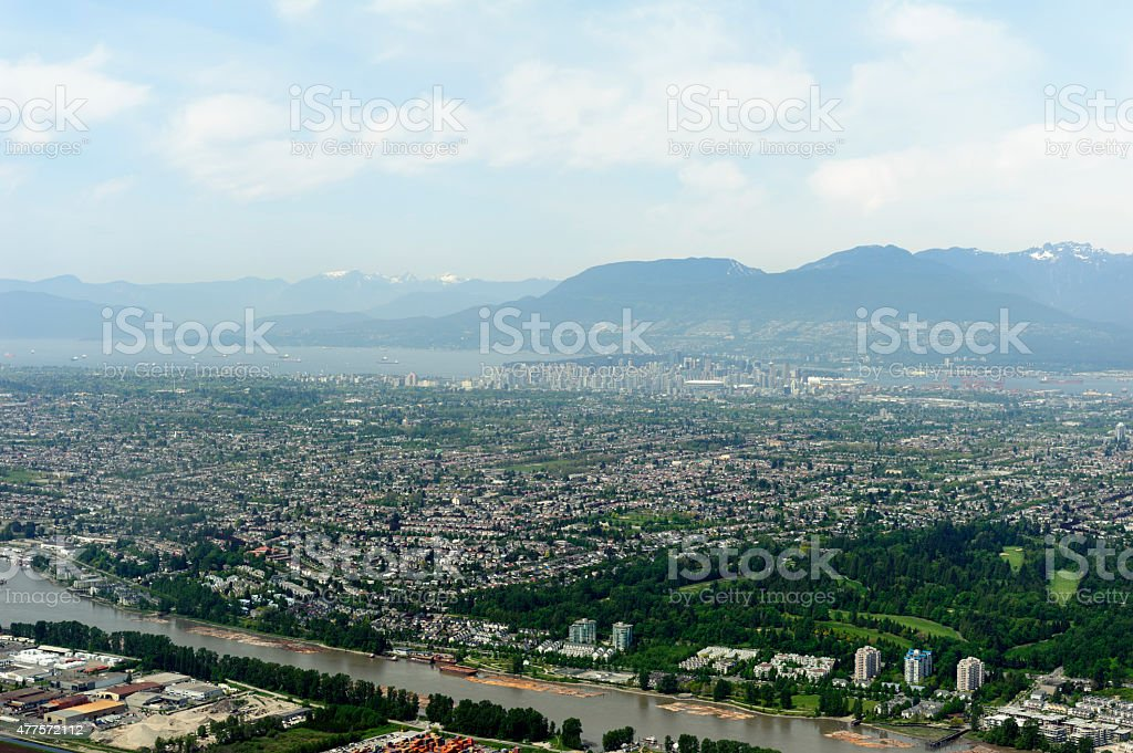 aerial photo city of richmond, vancouver and airport stock photo
