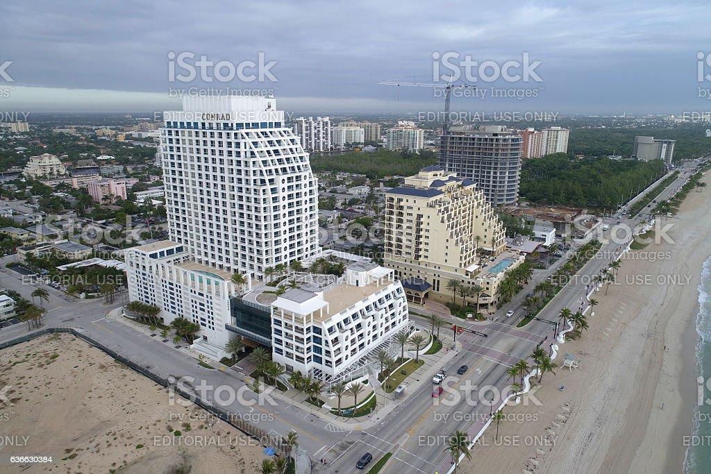 Aerial photo Conrad Hotel Fort Lauderdale stock photo