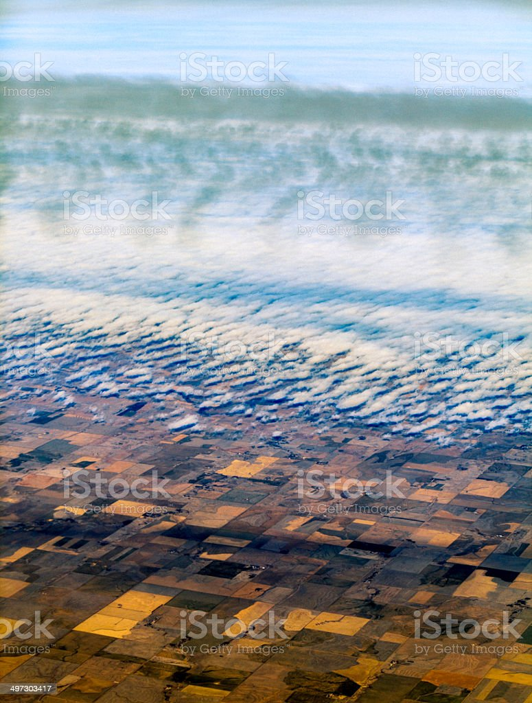 Aerial photo. Cultivated fields under the clouds royalty-free stock photo