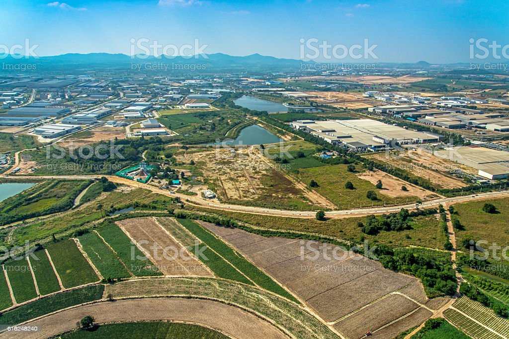 Aerial Photo Farming Agriculture and Land Development stock photo